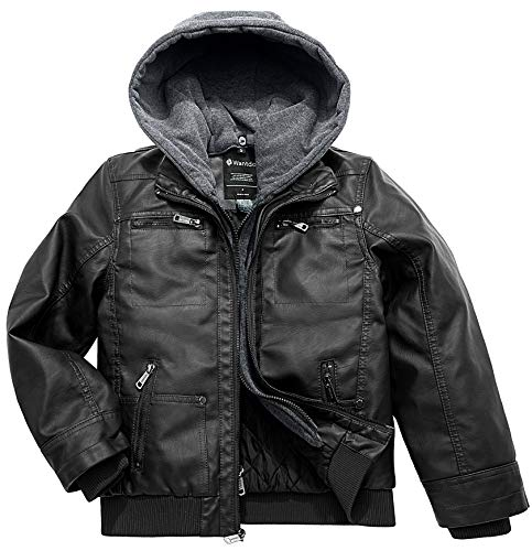 Wantdo Boy's Spring Faux Leather Motorcycle Coat Biker Jacket with Hood Black Thick US 8