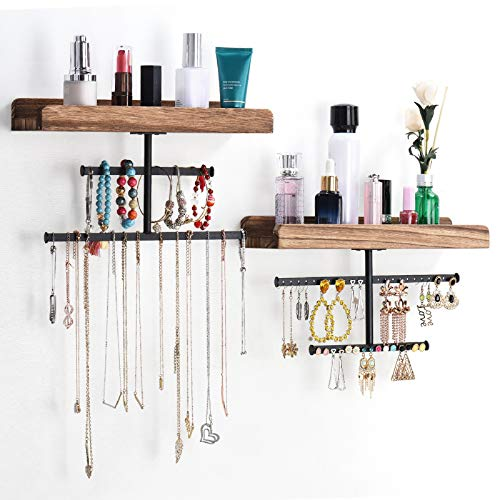 Keebofly Hanging Wall Mounted Jewelry Organizer with Rustic Wood Jewelry Holder Display for Necklaces Bracelet Earrings Ring Set of 2 Carbonized Black