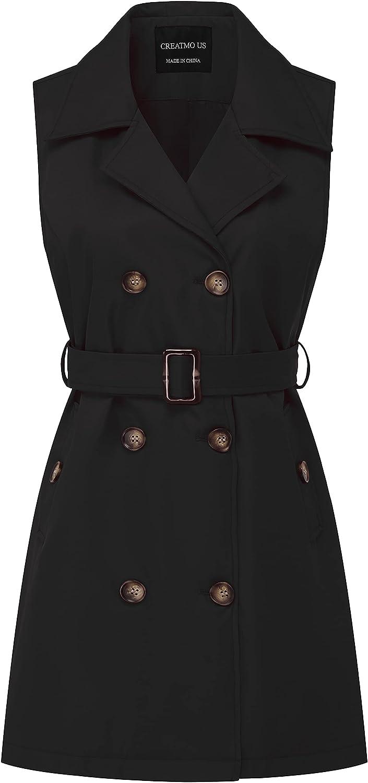 CREATMO US Women's Long Sleeveless Trench Coat Blazers Jacket Duster Vest Belted