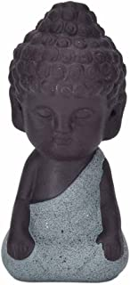 ZLBYB 1pc Small Buddha Statue Monk Figurine tathagata India Yoga Tea pet Purple Ceramic Crafts Decorative Ceramic Ornaments