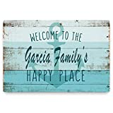 Personalized Beach House Sign - Welcome to The Happy Place - Durable Customized Home Wall Decor Metal Sign -Use Indoor/Outdoor - Great Housewarming Gift and Decor for Resort and Beach House