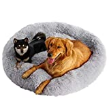 Calming Dog Cat Bed 40 50 70 100cm Plush Donut for Large Medium Small Dog Cat Anxiety Relief Fluffy Soft Round Pet Nest Orthopedic Relief Cuddler Kennel Super Lightweight Light Grey 100cm
