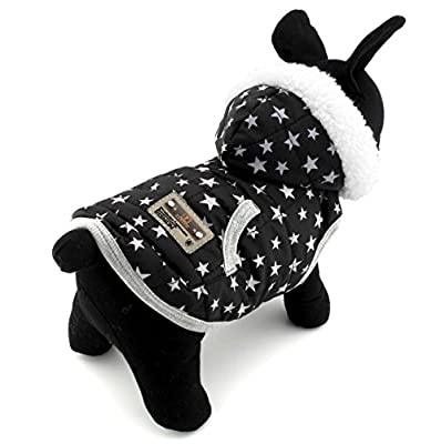 SELMAI Pet Clothes for Puppy Cat Small Dog Fleece Lined Winter Vest Coat Jacket Hooded Costume Clothing Black Stars XL