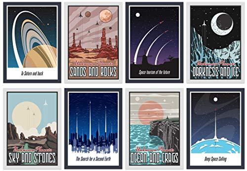 Growl Monster Cards 8 A4 Space Weltraum Poster Set Universum…