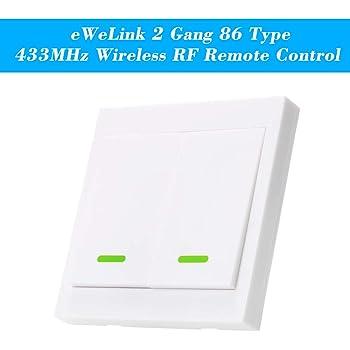 eWeLink 1PCS Botón Pulsador de Pared Interruptor de Control Remoto 433MHz Tipo 86 2 Gang Interruptor de Encendido/Apagado Transmisor de Control Remoto Inalámbrico RF con Pegatina Posición Flexible: Amazon.es: Bricolaje y herramientas