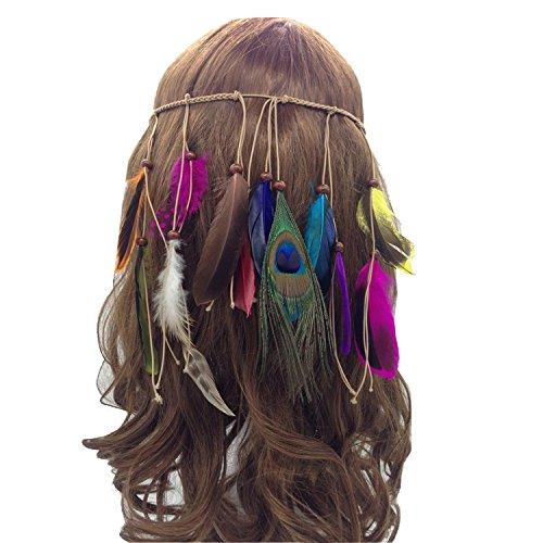 Petalum Böhmische Pfau Feder Kopfschmuck Stirnband Flechten Haar Band Stirnband Blei Seil für Abendkleider Fasching Karneval Fastnacht (C)