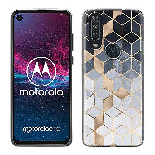 Pnakqil Handyhülle Motorola One Action Hülle,Anti-Kratzen Anti-Fingerabdruck Anti-Fall Hülle Clear Transparent Weich Anti-Gelb Cover TPU Silikon Hülle für Motorola One Action Hülle,Quadrat