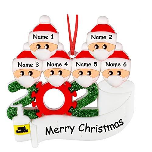 Adorno Familiar Sobrevivido 2020 Adornos para árboles de Navidad, Decoración con Nombre de Bricolaje, Colgantes Colgantes Personalizados de Regalo de Navidad Familiar (Familia de 6)