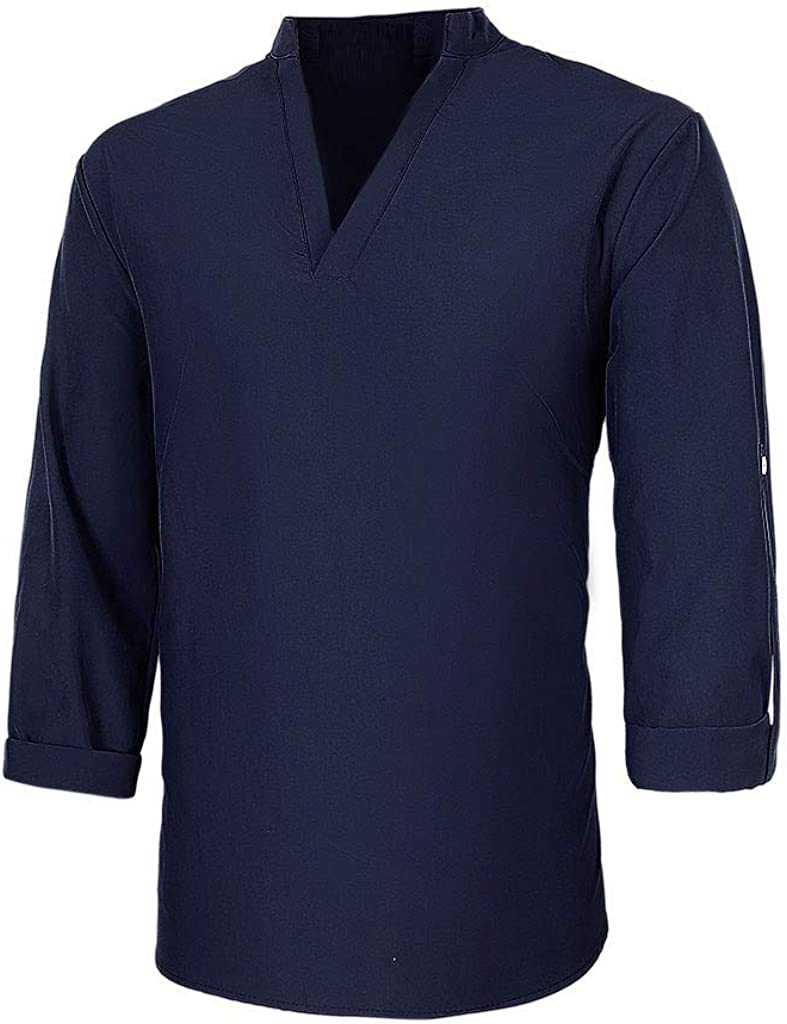 Men's Henley Shirt Long Sleeve V Neck Solid Color Autumn Casual Fashion Pullover Top Slim Fitted Lightweight Blouse
