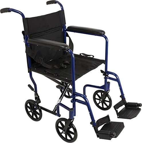 "ProBasics - KTA1916SA-BL Aluminum Transport Wheelchair - 19"" Wheel Chair Transport Chair - Blue"