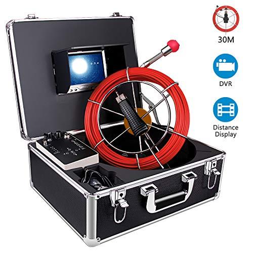 Kanalkamera mit Abstand Zähler, 30M Rohr Inspektionskamera mit DVR Funktion Pipeline Ablassen Rohrdetektor Kamera Industrie Wasserdichtes IP68 Endoskop Videosystem mit 7