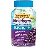 Emergen-C Immune+ Elderberry Gummies, 750 mg Vitamin C with Vitamin D, Zinc and Electrolytes, Immune Support Dietary Supplement, Caffeine Free, Gluten Free, Elderberry Flavor - 45 Count
