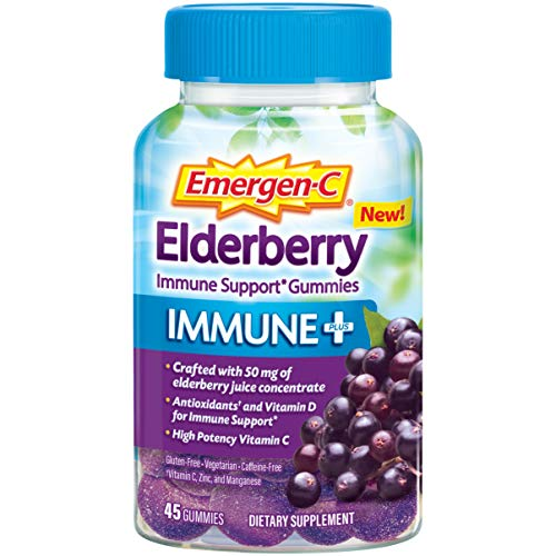 Emergen-C Immune+ Elderberry Gummies, 750 mg Vitamin C with Vitamin D, Zinc and Electrolytes, Immune Support Dietary Supplement, Caffeine Free, Gluten Free, Elderberry Flavor - 45 Count
