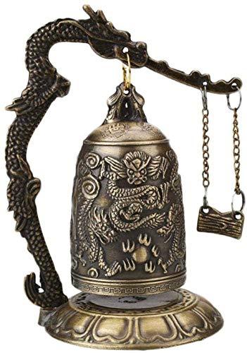 YsKYCA Estatua Escultura Decoración,Adornos Estatuas Y Figuritas Reloj Budista Artesanías Rativas Templo Budista Latón Cobre Dragón Campana Reloj Tallado Lotus Buda