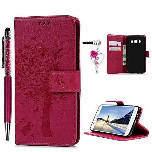 Funda J5 2016, Funda Libro de Cuero Impresión de Árbol, Flip Cover para Samsung Galaxy J5 2016(5.2 Pulgadas), Wallet Case, Ranuras para Tarjetas y Billete - Rosa roja