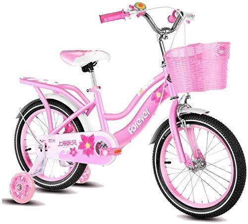 JHNEA Bicicletas Infantiles niña niño 2-12 años Bicicletas 12 14 16 18 Pulgadas Ruedas auxiliares Bicicletas Infantiles Bicicleta de Niño,Pink_16 Inch