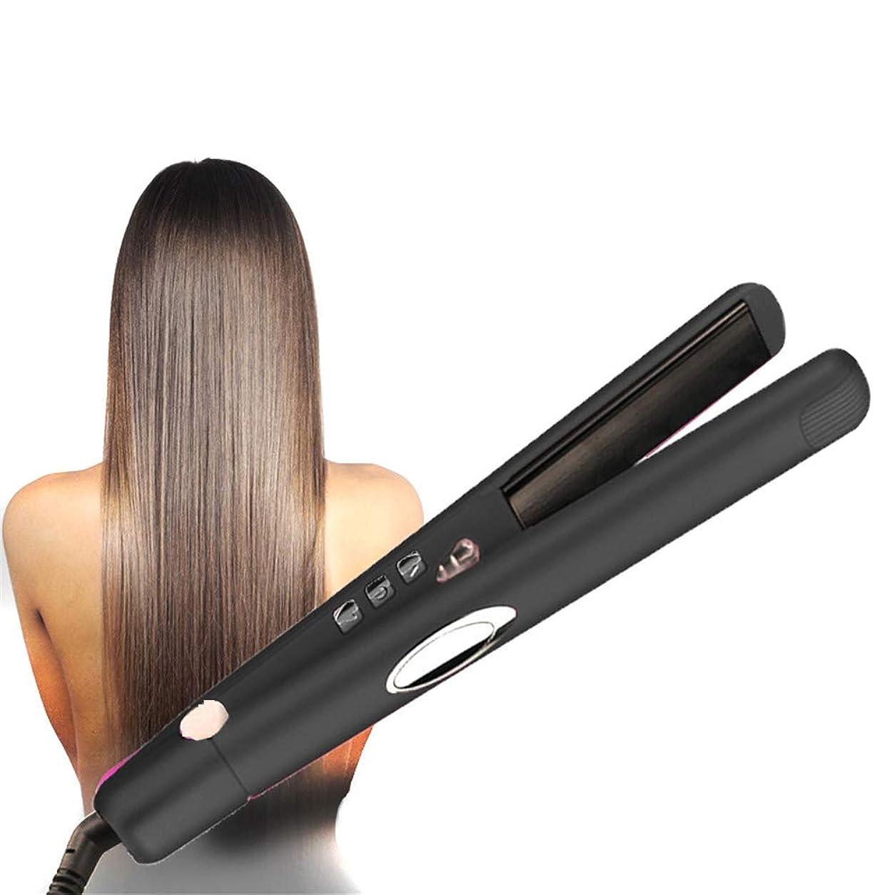 受けるその間静めるストレートヘアセラミックフラットアイロンデジタルディスプレイ付きストレートヘアスプリントデュアル電圧調節可能な温度自動シャットダウン,黒