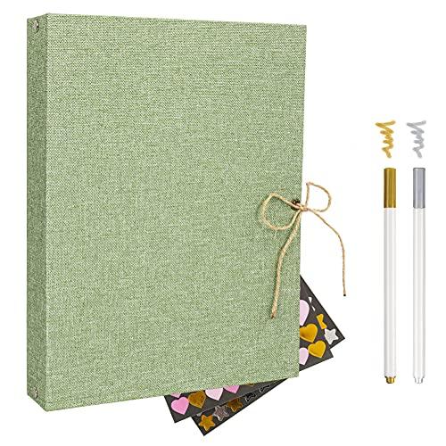 Scrapbook - Álbum de fotos de lino con páginas negras, libro de invitados de boda, recargable, 60 páginas negras, kit de bricolaje para scrapbooking (2 adhesivos + 2 bolígrafos metálicos) (verde)