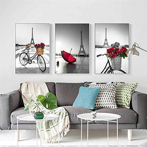 hdbklhjxk fiets rozen canvas schilderij rode paraplu poster en print kunst schilderijen voor woonkamer wooncultuur geen lijst 50x70cm No Frame 3 stuks.