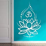 Hinduismus Hinduismus Kunst Wandtattoo Lotusblüte Wanddekoration abnehmbar Ornament Yoga Poster OM Symbol Wandbild für Schlafzimmer LY224 57x84cm weiß