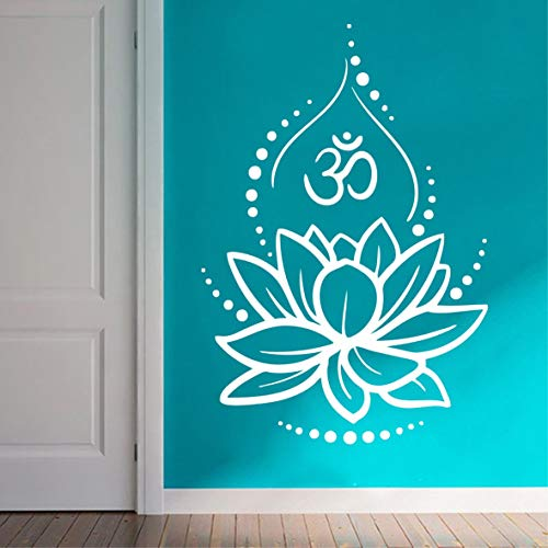 Hinduismus Hinduismus Hinduismus Kunst Wandtattoo Lotus Blume Wanddekoration ablösbar Ornament Yoga Poster OM Symbol Wandbild für Schlafzimmer LY224 57x84cm weiß