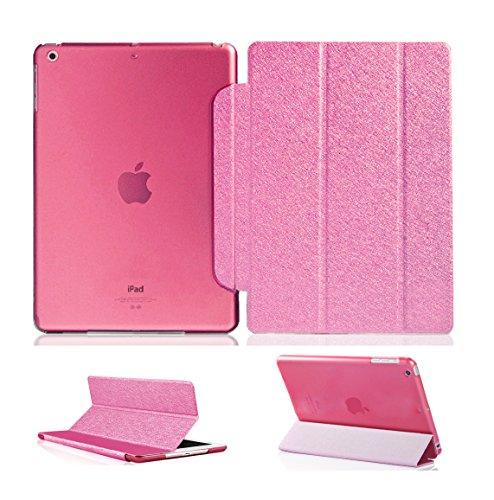 Luch iPad Mini Hülle, Glitter Seide Series Schutzhülle Cover Case Etui Tasche mit Hart PC Durchschaubar Rücken Deckel mit Auto Schlaf/Wach Funktion & Standfunktion für Apple iPad Mini 1 2 3, Pink