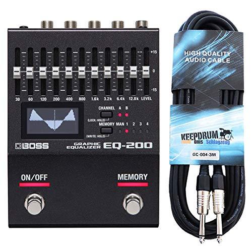 Boss EQ-200 - Ecualizador gráfico y cable de audio Keepdrum (3 m)