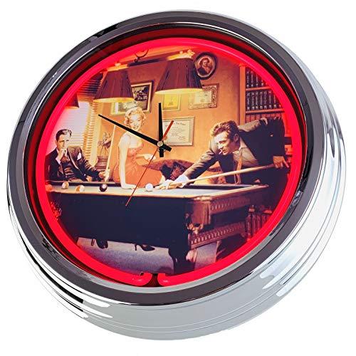 Neon Uhr Billiard Wanduhr Deko-Uhr Leuchtuhr USA 50's Style Retro Neonuhr Esszimmer Küche Wohnzimmer Büro (Rot)