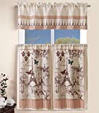 Sapphire Home 3 Piece Kitchen Curtain Linen Set with 2 Tiers 27' W (Total Width 54') x 36' L and 1 Tailored Valance 54' W x 15' L, France Paris Eiffel Tower Design Kitchen Curtain Décor Linen