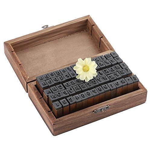 70PCS vintage houten stempels, houten alfabet letters stempel compatibel met papier/stof/kunststof/glas/hout - DIY nummer stempels set met draagbare houten opbergdoos