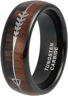 iTungsten 6mm 8mm Tungsten Carbide Rings for Men Women Wedding Bands Koa Wood Arrow Meteorite Inlay Hunting Jewelry Comfort Fit