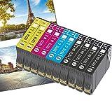OGOUGUAN T0715 - Cartucho de tinta compatible con Epson T0711, T0712, T0713, T0714, con Epson Stylus SX200, SX215, SX218, SX400, SX415 SX510W, SX515W, DX4450, DX5050, DX6000 y DX8450(10 unidades)