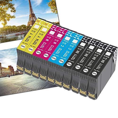 OGOUGUAN T0715 Cartuchos de Tinta para Epson T0711 T0712 T0713 T0714 T0715 Compatible con Epson Stylus SX115 SX205 SX215 SX218 SX405 SX515W DX4000 DX4400 DX7400 DX8400 10pcs