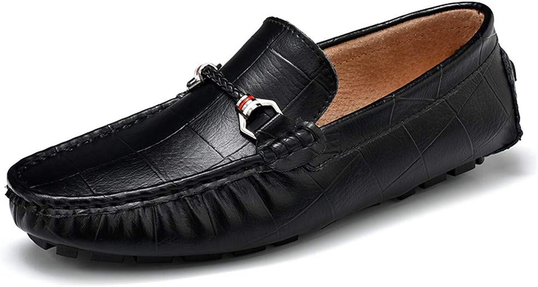 Yajie-schuhe, Herren Driving Loafers, Lässige Mode handbedruckt Volltonfarbe Plaid aus aus aus echtem Leder Stiefel Mokassins (Farbe   Schwarz, Größe   38 EU)  94d143