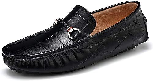 JIALUN-des Chaussures Personnalité Masculine Driving Mocassins Mocassins Bateau en Cuir véritable de Mode décontractée imprimés à la Main de Couleur Unie à la Main (Couleur   Noir, Taille   43 EU)