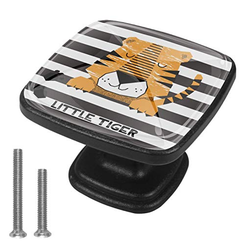Paquete de 4 pomos de cocina para armario de cocina, tiradores cuadrados para cajón, herrajes de pequeño tigre, marrón y blanco a rayas