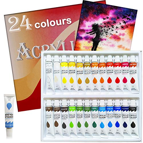Acrylic Paint Set 24 Colors Tubes Acrylic Paints for Painting Non Toxic Paint Sets for Kids Adults Beginners Students Professional Artist Art Kit for Canvas Rock Wood Fabric Crafts