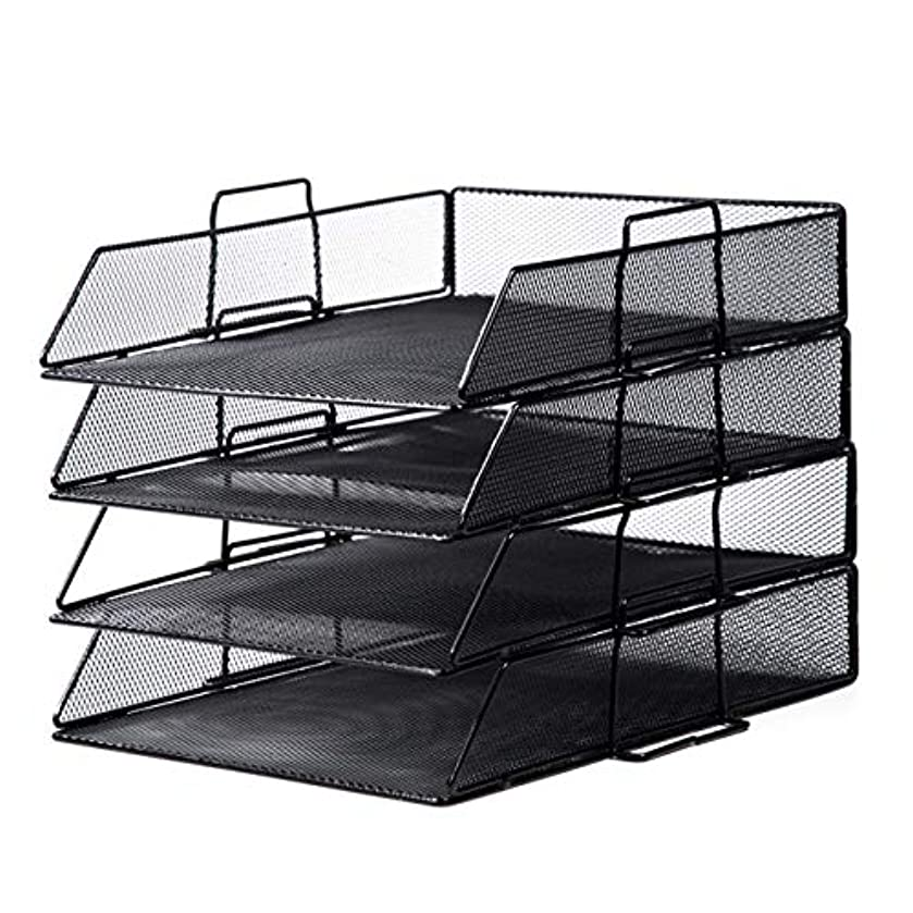 AOFILEHOLDER Magazine File Holder Bracket Multi-Layer Compartment Black Mesh Metal Home Desk Neat Manager for Paper Books File Notebook Storage Box (Size : 4 Layers)
