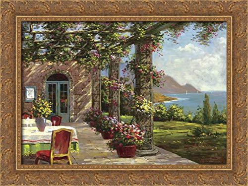 Vladimir 24x19 Gold Ornate Framed Canvas Art Print Titled: Amalfi Coast I