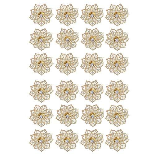 MOVKZACV - Tovaglioli rotondi per decorazione del tavolo di matrimonio, in rete 3D, con motivo floreale, con diamanti incastonati, 24 pezzi