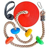 Runaway Fun Tree Swing Climbing Rope - Kids Backyard Disc Swings - Outdoor Toys Playset Accessories - Outside Disk Seat for Swingset