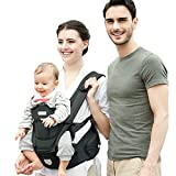 Baby Backpack Carrier Front and Back for Newborn to Toddler with Hip Seat, Feemom Forward Facing Baby Kangaroo Carrier for Men Black