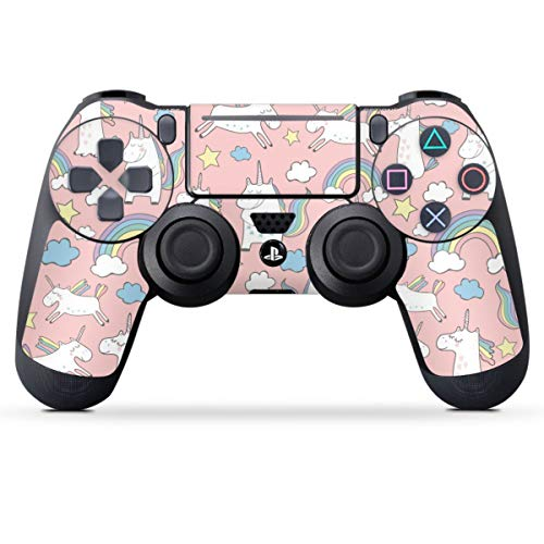 DeinDesign Skin kompatibel mit Sony Playstation 4 PS4 Pro Controller Folie Sticker Einhorn Regenbogen Statement