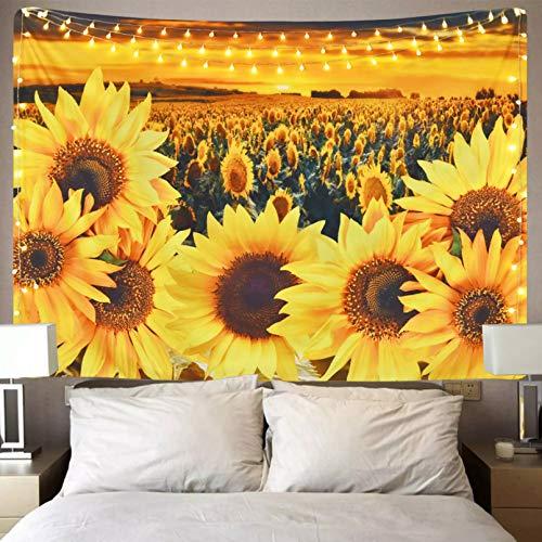 N/A Impresión 3D de tapices Sunset Sunflower Field Tapiz Floral Planta Flor Amarilla para habitación Dormitorio decoración Pared 130 CM X 150 CM