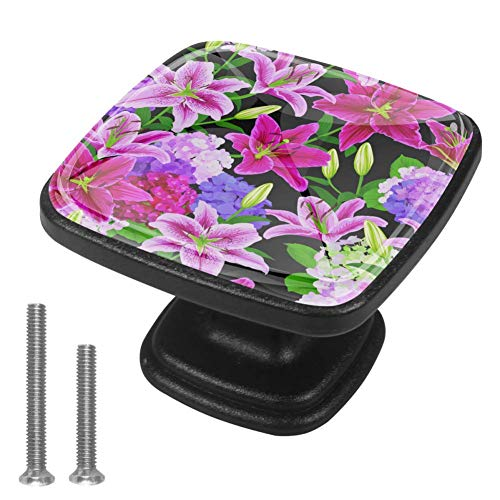 Floral Lilies Flowers Country Garden Drawer Knob for Home Cabinet Dresser Bookcase 4PCS with Screws