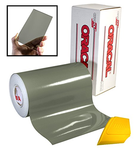 ORACAL 8300 Transparent Light Smoke 12' x 24' Colored Window Tinting Vinyl Roll for Cricut, Silhouette & Cameo Including Hard Yellow Detailer Squeegee (1 Roll Pack)
