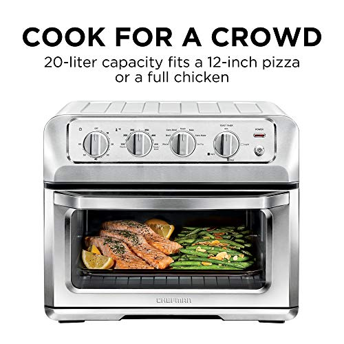 Chefman Toast-Air 20L Air Fryer Toaster Oven, 7-in-1 Combo w/Convection Bake & Broil, Auto Shut-Off, 60 Min Timer, Fry Oil-Free, Nonstick Interior, Accessories & Cookbook Included, Stainless Steel