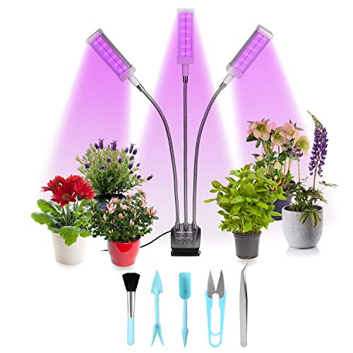 IMAGE Pflanzenlampe LED Pflanzenlicht 72W 144 LEDs Vollspektrum Pflanzenleuchte mit Timer 3/6/12H dimmbare Wachstumslampe für Zimmerpflanzen