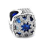 PANDOCCI 2017 regalo di natale blu glaciale bellezza fascino perline autentici 925 sterling silver fai da te adatto per originale pandora gioielli fascino gioielli di charms