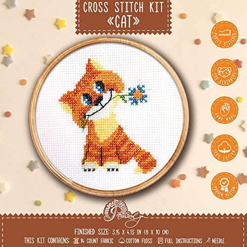 Cat Cross Stitch Kit for Beginners
